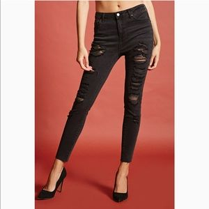 Forever 21 Contemporary woven skinny jeans